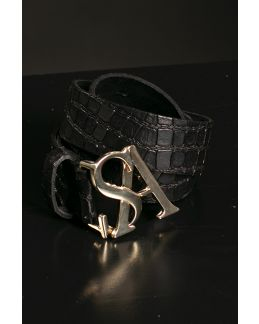 Studio Anneloes SA gold kroko leather belt