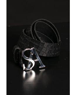 Studio Anneloes SA silver kroko leather belt