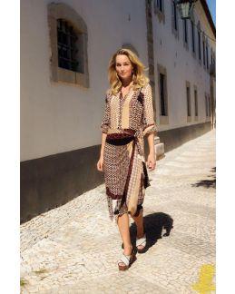 Tramontana Skirt Midi Mixed Graphic Print