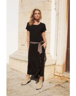 Tramontana Skirt Midi Buttons Black
